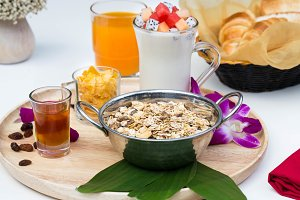 Close up healthy Breakfast set with nice decoration
