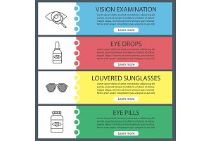 Ophthalmology web banner templates set