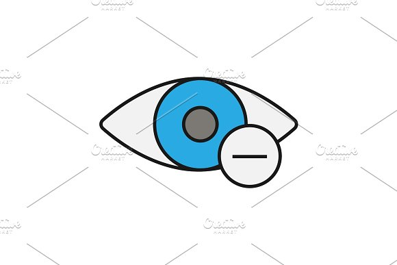 Human Eye With Minus Sign Color Icon