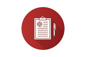 Medical report flat design long shadow glyph icon