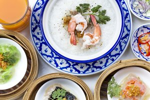 Oriental breakfast set with Congee and Dim sum set.