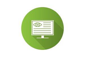Eye diagnostic computer flat design long shadow glyph icon