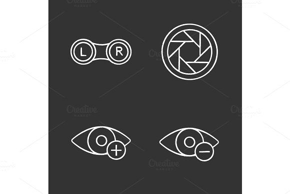 Ophthalmology Chalk Icons Set