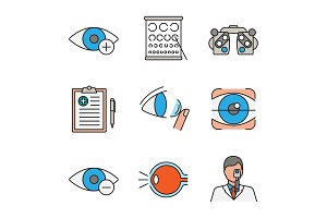 Ophthalmology color icons set