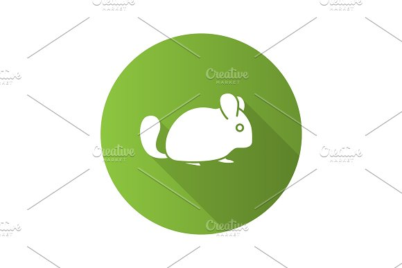 Chinchilla Flat Design Long Shadow Glyph Icon