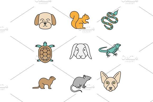 Pets Color Icons Set