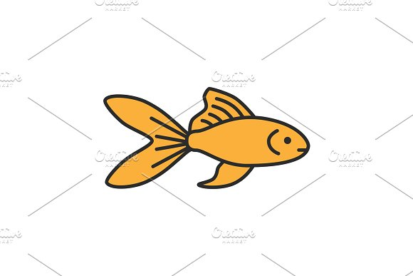 Aquarium Goldfish Color Icon