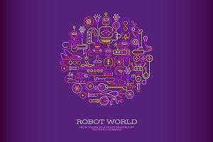Robot World round shape (2 options)