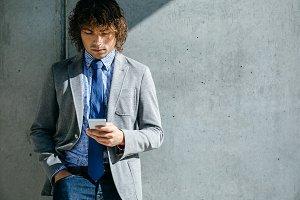 Businessman using mobile