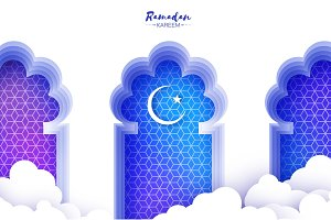 Arabic window arch in paper cut style. Origami Ramadan Kareem greeting cards. Arabesque pattern. Crescent Moon. Holy month of muslim. Symbol of Islam.
