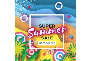Summer Sale in paper cut style. Origami Beach rest. Summer vacantion poster. Top view on colorful beach elements. Square frame. space for text.