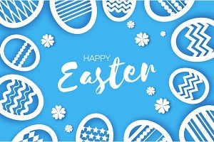 Happy Easter Greetings card. Eggs in paper cut style. Spring holidays on blue. Space for text.