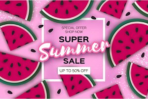 Watermelon Super Summer Sale Banner in paper cut style. Origami juicy ripe watermelon slices. Healthy food on pink. Summertime. Square frame for text.