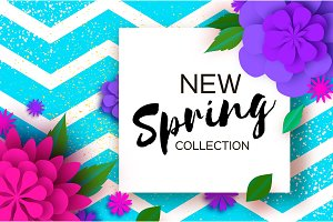 New Spring collection. Paper Cut Flower. 8 March. Womens Day Greetings card. Origami Floral bouquet. Square frame. Text. Spring Seasonal Holidays on zigzag blue.