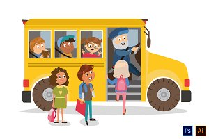 school bus and pupils