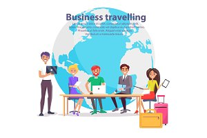 Business Travelling and Globe Vector Illustration