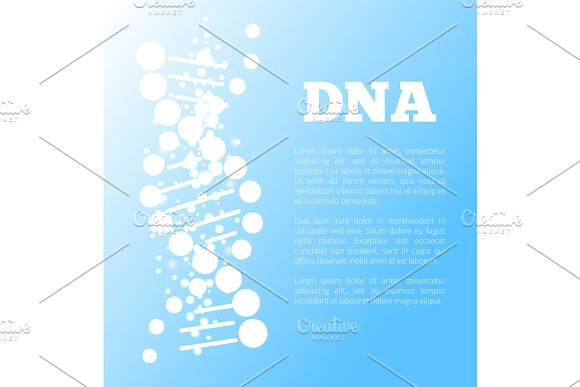 DNA Poster Of Blue Color Vector Illustration
