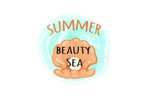 Summer Sea Beauty Poster with Open Seashell
