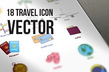18 Travel Icon Vector Illustration