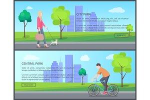 Central City Park Color Banner Vector Illustration