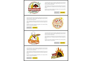 Pizzeria Italian Recipes Set Vector Illustration