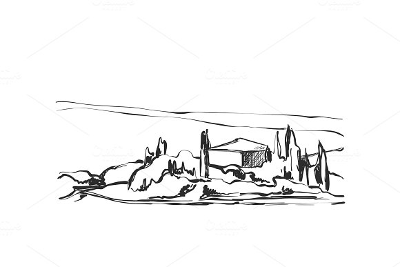 Vector Image Sketch Of Landscape With Tree And House
