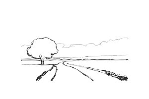 Graphic black white landscape sketch illustration vector. Fields and tree