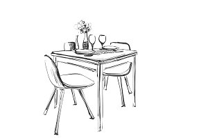 Table setting set. Weekend breakfast or dinner. Hand drawn dishes sketch. Table and chair