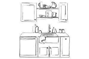 Kitchen sink. Kitchen worktop with sink. The sketch of the kitchen. Furniture