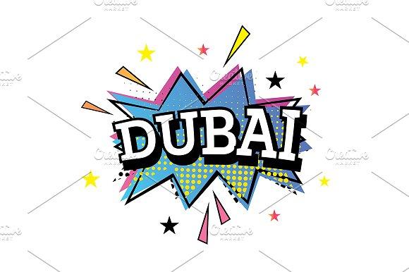 Dubai Comic Text In Pop Art Style