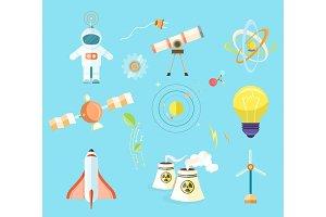 Science Themed Isolated Cartoon Illustrations Set