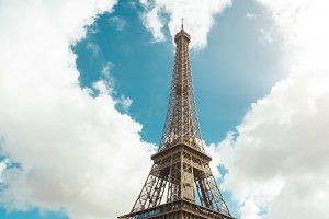 Eiffel tower and heart shape in clouds