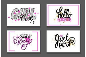 Set of Graffiti Fonts Vector Illustration Slogans