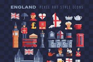 Pixel art England icons set