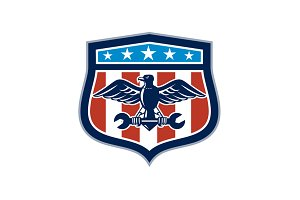 American Eagle Mechanic USA Flag Cre