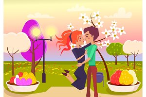 Happy Couple Hugs in Park at Sunset Illustration