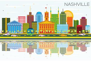 Nashville Skyline with Color