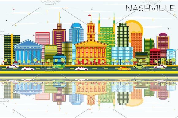 Nashville Skyline With Color