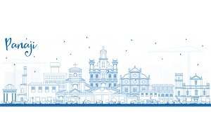 Outline Panaji India City Skyline