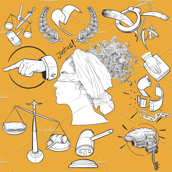 Illustration Set Of Justice