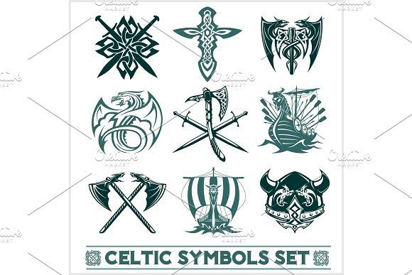 Set Of Celtic Symbols Icons Vector
