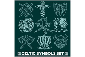 Set of Celtic symbols icons vector.