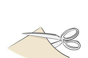 Illustration of scissors cut paper