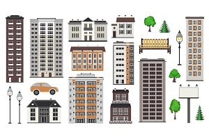 Various city elements of multistorey buildings and municipal structures, park and transport.