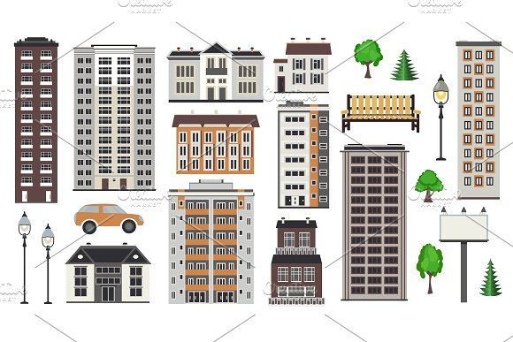 Various City Elements Of Multistorey Buildings And Municipal Structures Park And Transport