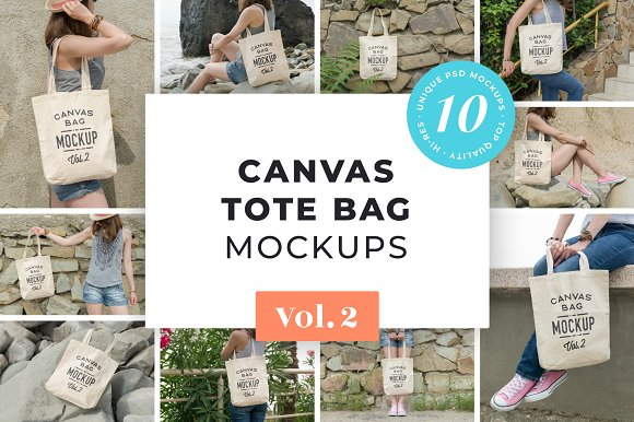 Canvas Tote Bag Mockups Pac-Graphicriver中文最全的素材分享平台
