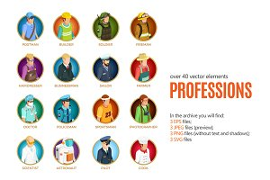 Professions Isometric Set