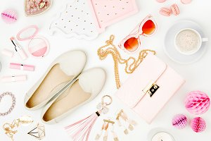 Flat lay of female accessories