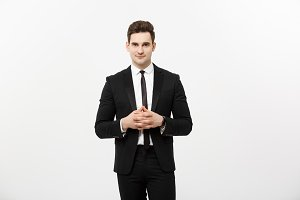 Business Concept - Portrait Handsome Business man in suit holding hands with confident face. White Background.