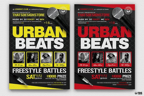 freestyle rap battle flyer v3 flyer templates creative market